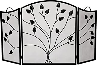 Dagan Industries Black 3 Fold Arched Panel Screen with Leaf Design - 31 inch