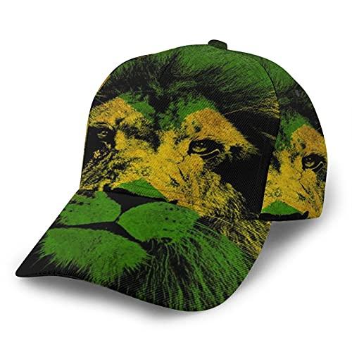 LAOLUCKY Snapback Hats Curved Edge Hip Hop Baseball Cap Einstellbare Sonnenhut für Jungen Mädchen Gr. One size, Jamaikanische Löwen-Flagge Kunst schwarz