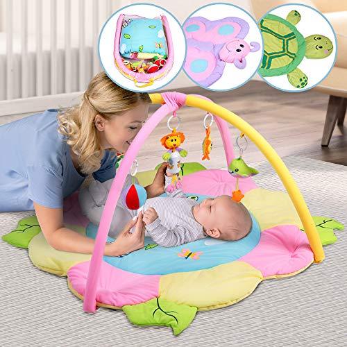 Infantastic Spieldecke mit Spielbogen - Blume Design, Größe XL 115/115 cm, mit Sensorik Spielzeug und Musik, ab 0 Monaten - Erlebnisdecke für Baby, Krabbeldecke, Spielmatte, Spielteppich