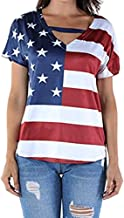 POHOK Patriotic Tops for Women Women Plus Size Loose Blouse Star Stripe USA Flag America T-Shirt Top Blouse