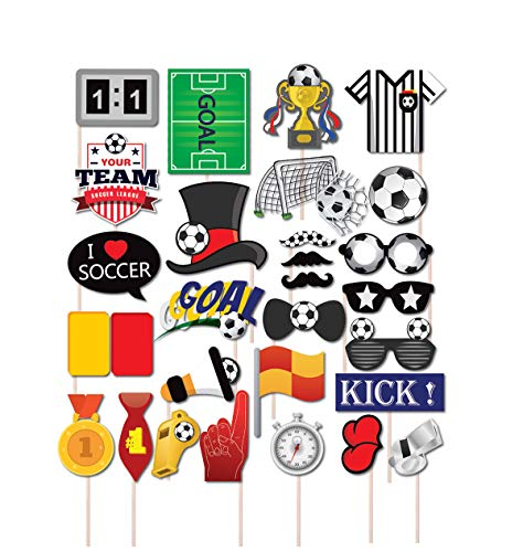 SWYOUN 30PCS Soccer Football Party Photo Props Cheerleading Soccer Event Supplies Decoration