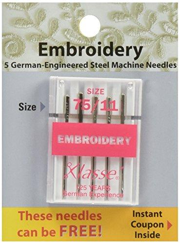 Tacony Corporation Klasse Embroidery Machine Needles-75/11 5/Pkg