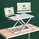 Zinus Molly Smart Adjust Standing Desk / Height Adjustable Desktop Workstation / 28' x 21' / White