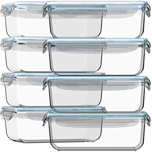 Glass Storage Containers with Lids 30 oz 16 Pc (Set of 8) Glass Food Storage Containers Airtight - Glass Meal Prep Containers FREE 14 Measuring Cups/Spoons Glass Food Containers by Razab