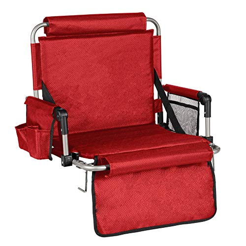 Alpcour Foldable Stadium Bleacher Seat with Backrest and Armrest – Wide Durable and Portable Padded Chair with Pockets and Cup Holder – Perfect for Basketball and Football Bench Seats - Red