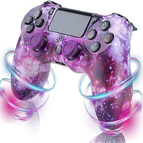 QLOVE Mando Inalámbrico para Playstation 4, Gamepad Wireless Bluetooth Controlador Controller Joystick con Vibración Doble Remoto/6-Axis Gyro/Turbo/Panel táctil, Mando para PS4/PS3/ PC,Purple Sky