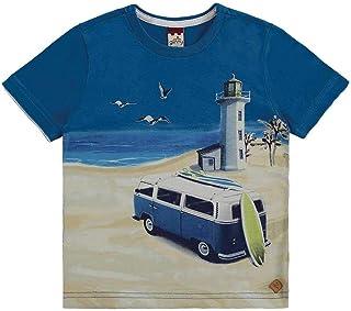 Camiseta Meia Malha Com Etiqueta De Couro Ecologico Azul Colbalto