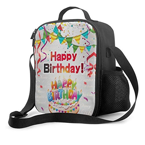 PYFXSALA Best Happy Birthday Unisex Multi-Purpose Lunch Bag,Reusable Insulated Cooler Lunch Box,Leakproof Adjustable Shoulder Strap Portable Food Tote Bag