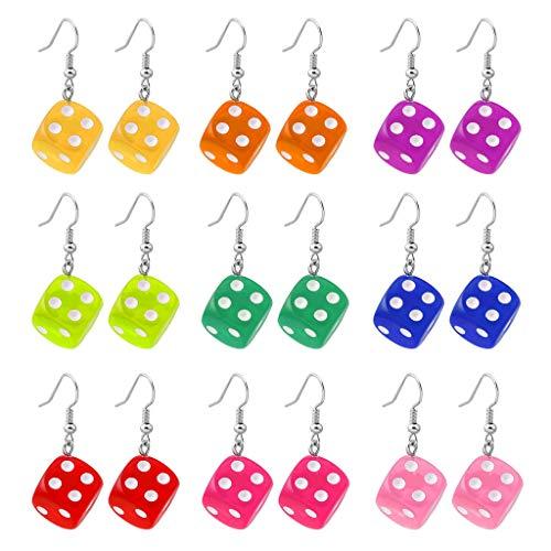 HOTPINK1 9 colores divertidos cubos colgantes pendientes Kit de cubos de acrílico multicolor Cubos colgantes colgantes colgantes gota Set mujeres moda