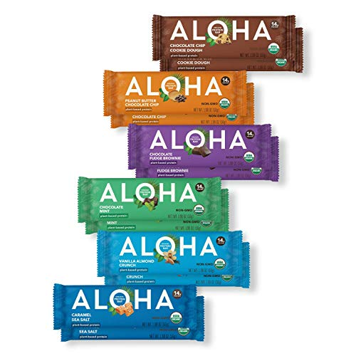 ALOHA Organic Plant Based Protein Bars - 6 Flavor Variety Pack - 12 Count, 1.9oz Bars - Vegan Snacks, Low Sugar, Gluten-Free, Low Carb, Paleo, Non-GMO, Stevia-Free, No Sugar Alcohols
