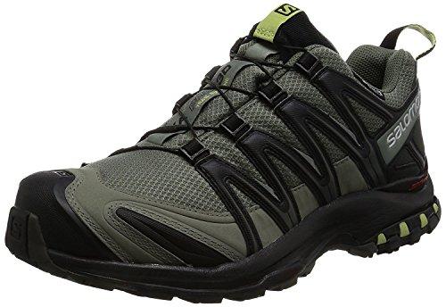Salomon Men's XA Pro 3D ClimaShield Waterproof Trail Running Shoe, Castor Gray/Black/Fern, 9.5 M US