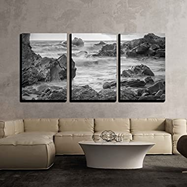 wall26 - 3 Piece Canvas Wall Art - a Black and White Shot Looking out to the Pacific Ocean. - Modern Home Decor Stretched and Framed Ready to Hang - 24 x36 x3 Panels