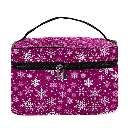 Bolsa de maquillaje de viaje para cosméticos, bolsa de maquillaje con cremallera, color morado