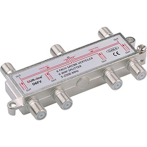 SAT & BK-Verteiler - 6-Fach Splitter - voll geschirmt - Unicable & HD tauglich [DUR-line D6FV - für Satelliten-Anlagen(DVB-S2) - BK - UKW Radio - DC-Durchlass - TV Antennen Fernseh Verteiler]