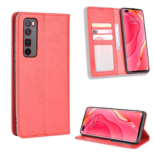 LODROC Huawei nova 7Pro Hülle, TPU Lederhülle Magnetische Schutzhülle [Kartenfach] [Standfunktion], Stoßfeste Tasche Kompatibel für Huawei nova 7 Pro 5G - LOBYU0100410 Rot