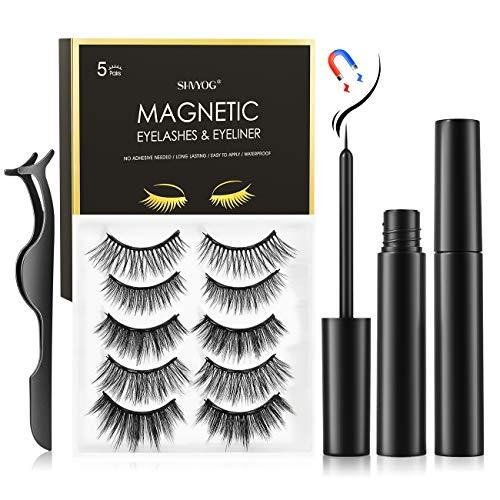 Magnetic Eyelashes with Eyeliner, SHVYOG 5 Pairs Upgraded Magnetic Eyelash Kit, Natural Look False Reusable Magnetic Lashes for Women, Magnetic Eyeliner and Eyelashes Kit with Tweezers Inside