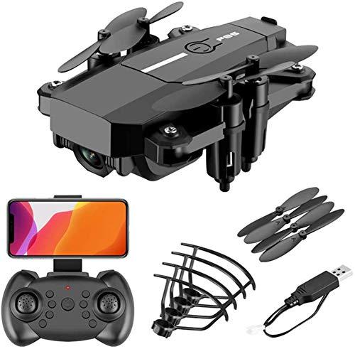 RHSMP Tragbare Faltbare WiFi-FPV-Minidrohnen, professionelle Faltbare 2,4-GHz-RC-Quadcopter-Drohne mit 0,3 MP / 5,0 MP HD-Kamera, intelligenter Ferngesteuerter Drohnen-Schwerkraftsensor,Schwarz