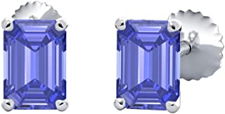 (6X8MM) Emerald Cut Created Gemstones Solitaire Stud Earrings 14K White Gold Over Sterling Silver For Women's