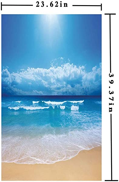 3D No Glue Static Decorative Privacy Window Films Seascape Theme Landscape Of The Beach And The Cloudy Sky In Summer Digital Print W15 7xL63in For Living Room Bathroom Kitchen Front Door With Sand Br