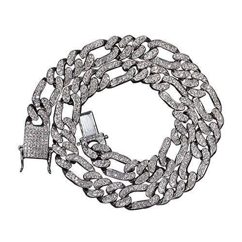 Amatop Cadena chapada en Oro de 18 Quilates 13MM Figaro Chain Hip Hop Jewelry Full Iced out Cuban Link CZ Figaro Link Chain Collar/Pulsera para Hombres Mujeres