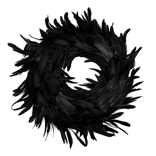 KJGHJ 35cm Natural Black Feathers Halloween Wreath Spooky Scene Horror Door Wreath Halloween Decorations Garland Christmas Wreath