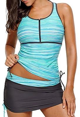 Aleumdr Sporty Tankini Tops for Women Swimwear 2 Piece Swimsuits Tankini Athletic Zip Front Racerback Tank Top Swimsuits with Swim Bottom Green Medium Size