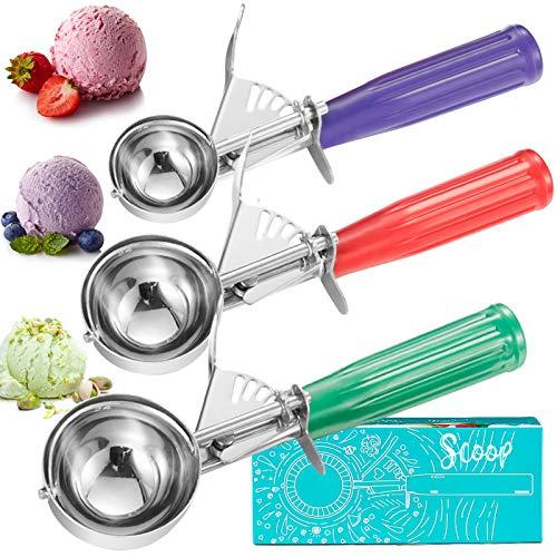 Cookie Scoop Set, Ice Cream Scoop Set, 3 PCS Ice Cream Scooper Trigger Include Large Medium Small Size Cookie Scoop, Polishing Stainless Steel 18/8 Melon Scooper
