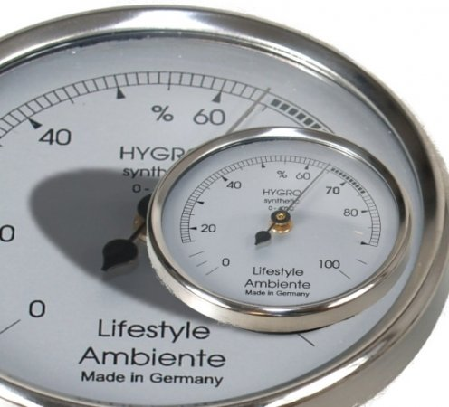 Lifestyle-Ambiente Profi-Haarhygrometer silber-klein Made in Germany