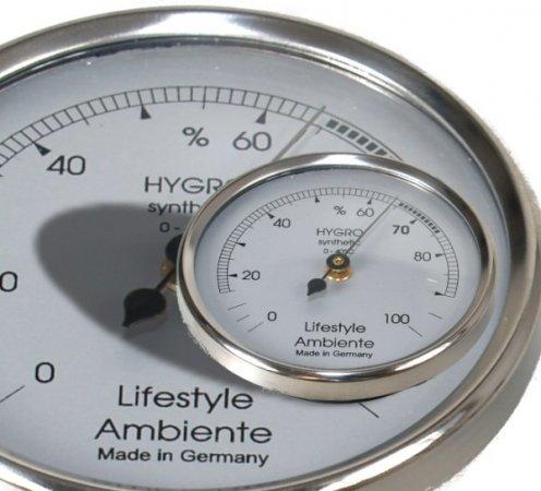 Lifestyle-Ambiente Professioneel haar, hygrometer, zilver-groot, Made in Germany