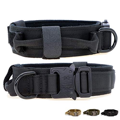 Tactical Military Dog Collar K9 Training Collar Thicken Nylon Dog Harness with Handle Quick Release Metal Buckle Hook & Loop Adjustable Collar for Large Medium Dog(Black,L)