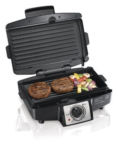 Hamilton Beach Electric Indoor Grill with Easy Clean Nonstick Removable Plates, 110 Square Inch Cooking Surface (25332)