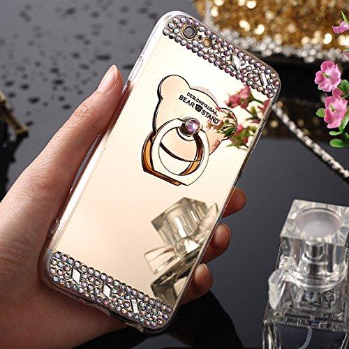 Étui iPhone 5/5S/SE,Coque protecteur iPhone 5S,Charmant romantique Ours motif Housse iPhone SE, ETSUE [Étui miroir Diamant en cristal brillant Bling Glitter] iPhone 5 Slicone Coque en caoutchouc,Ultra Mince Gel Coque pour iPhone 5/5S/SE Souple Housse avec Anti-rayures Résistant aux chocs Anneau TPU Coque pour iPhone 5/5S/SE,iPhone 5/5S/SE Étui Case avec cadeau + 1 x Bleu stylet + 1 x Bling poussière plug (couleurs aléatoires)
