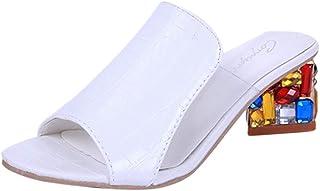 JOJONUNU Women Peep Toe Mules Sandals
