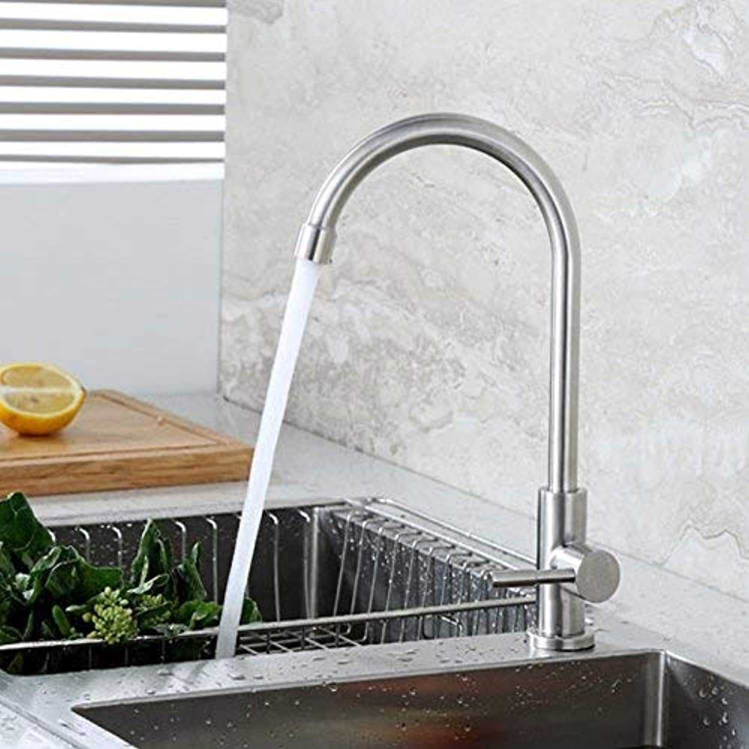 Oudan Basin Mixer Tap 304 Stainless Steel kitchen faucet single cold balcony basin sink dish washing basin of the brushed laundry pool B  Stainless steel single cold tap. (color   2)