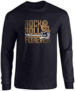 Rock and Roll Forever Music Retro Vintage Guitar Band Vintage Full Long Sleeve Tee T-Shirt