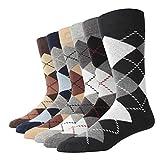 SOXART Calcetines por Media Pierna de Algodón Hombre, calcetines de rombos coloridas lindas negras grises Pack de 6