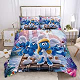 Probuk The Smurfs Juego de cama 3D Gargamel funda nórdica + funda de almohada, microfibra, cremallera, adolescentes, niños, niñas, ropa de cama (6,220 x 240 cm (80 x 80 cm)