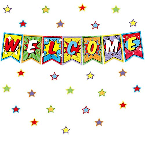 Colorful Welcome Bulletin Board Set Classroom Decoration Pennants Super Welcome Bulletin Decoration 64Pcs