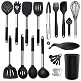 30PCS Silicone Kitchen Cooking Utensil Set - ADINC 480℉ Heat Resistant Dishwasher Safe Stainless Steel Handle Silicone Spoons Spatula Turner Whisk Tongs with Holder Nonstick Cookware Black