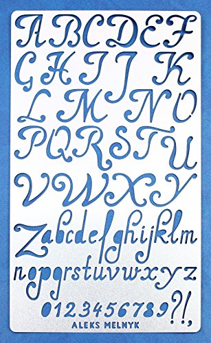 Aleks Melnyk #34.1 Schablone/Metall Stencil Vorlagen for Painting/Buchstaben, Zahlen, Alphabet/1 Stück/DIY Kunst Projekte/Stencil für Scrapbooking und Zeichnen/Brandmalerei Schablone/Basteln