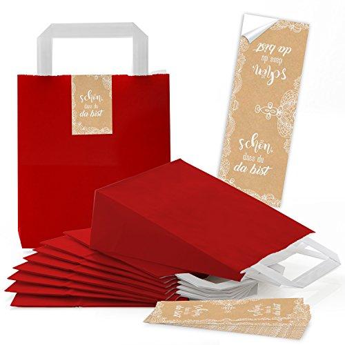 10 kleine rode zakken papieren draagtassen bodem 18 x 8 x 22 cm + mooie das bist sticker verpakking beige wit crème-kleuren kant vintage verpakking give-away bruiloft verjaardag