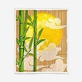 Manta Sherpa Reversible Mantas para Sofás de Felpa de Franela con Estampado Sol y bambú Verde Manta de Microfibra Suave cálida y sólida para Cama, sofá y Viaje 150X200CM