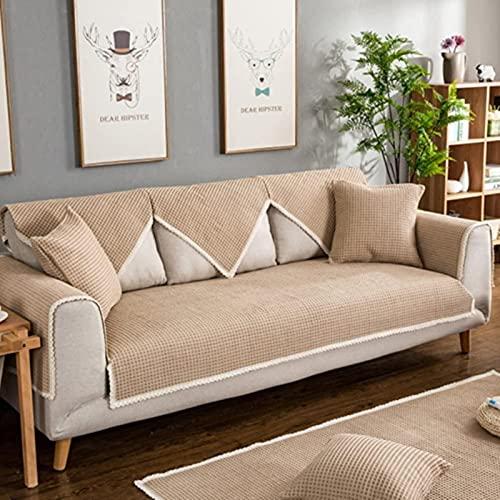 JYHS Fundas de sofá, de tela simple y moderna, funda para sofá, otoño, invierno, antideslizante, de lino, color sólido, protector de muebles de salón, 1 pieza-F 61 x 60 cm, cómodo