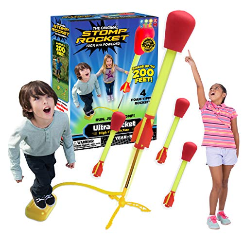Stomp Rocket Ultra Rocket, 4 Rockets - Outdoor Rocket Toy Gift for Boys and Girls - Comes with Toy Rocket Launcher