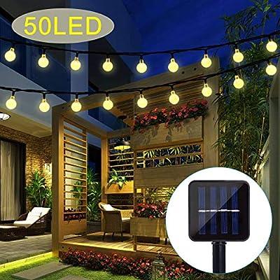 Upoom Garden Solar Lights, 50 LED Outdoor String Lights Garden Crystal Ball Decorative Lights 24Ft Waterproof Indoor Outdoor Fairy Lights for Garden, Patio, Yard, Christmas