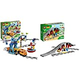 LEGO Duplo Town Tren de mercancías con Luces y Sonidos, Juguete para niños de 2-5 años (10875) + Duplo Town Vías Ferroviarias, Juguete de Preescolar