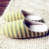 Parte Inferior de Tela a Rayas Amantes de Pareja universales Mujeres Hombres Zapatillas cálidas de Invierno Zapatos de Piso para Interiores Zapatos de hogar Antideslizantes (Amarillo limón 36/37)