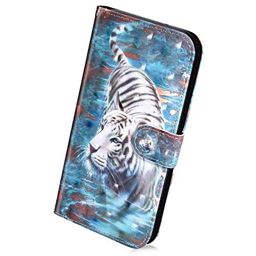 Herbests Kompatibel mit Huawei Y7 2019 Handyhülle Hülle Flip Hülle Bunt Glitzer Muster Leder Schutzhülle Klappbar Bookstyle Lederhülle Ledertasche mit Magnet Kartenfach,Weiß Tiger