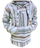 Premium Mexican Drug Rug Baja Hoodie Pullover Jerga Sweater (White Multi Stripe, Small)