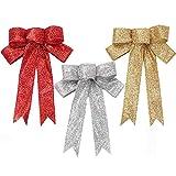 ODOOKON 3 Piezas Lazos para Árbol de Navidad para Adornos para Árboles De Navidad, Brillantina Lazos para Guirnaldas Navideñas, para Decoraciones De Fiesta De Navidad Rojos Dorados Plateados